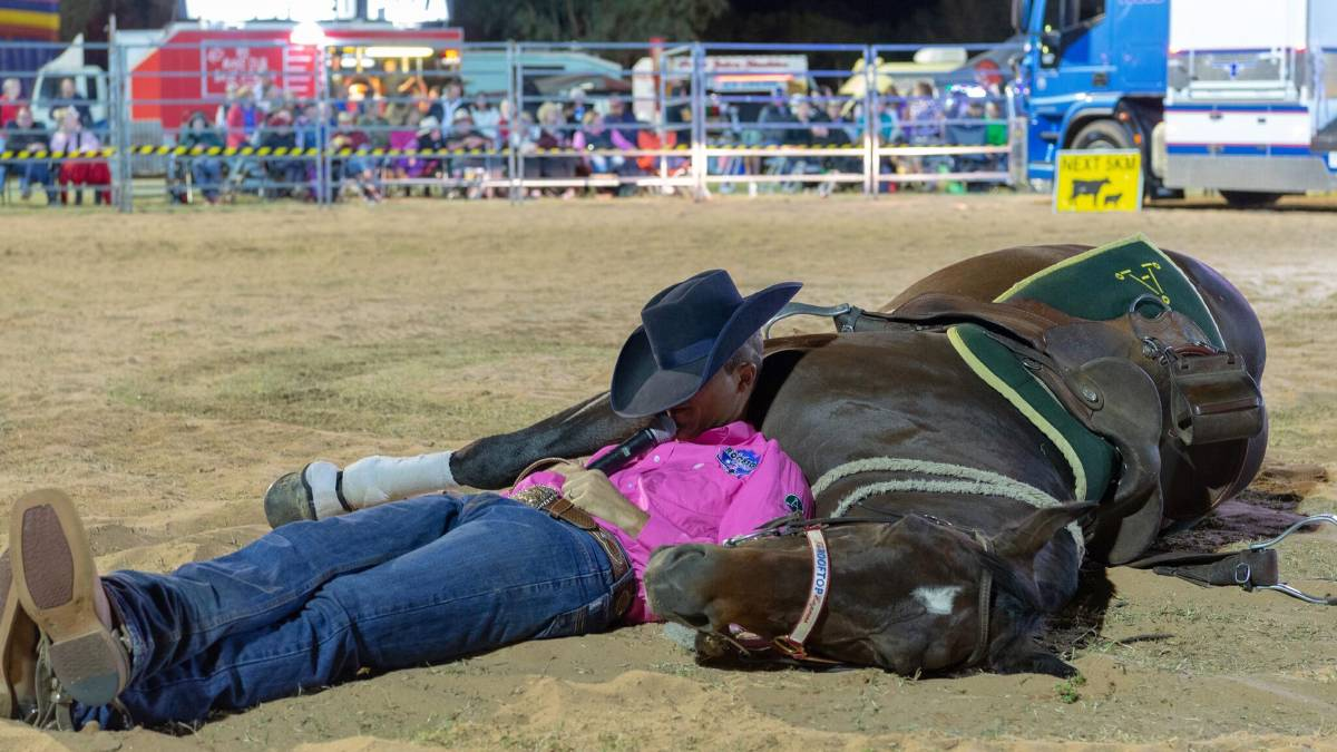 Lying down on the job? Just part of the entertainment at the Cunnamulla Fella Festival.